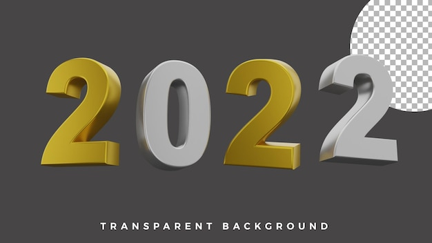 3d gelukkig nieuwjaar 2022 elegant luxe goud zilver concept van hoge kwaliteit