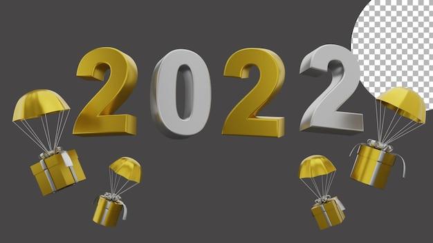 3d gelukkig nieuwjaar 2022 elegant luxe goud zilver vliegend geschenkdoosconcept van hoge kwaliteit