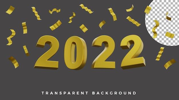 3d gelukkig nieuwjaar 2022 elegant luxe gouden feestpapier concept van hoge kwaliteit
