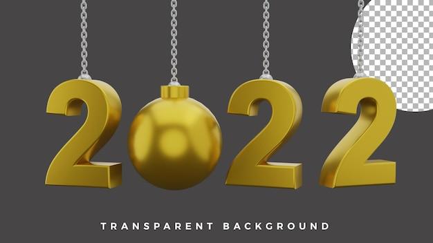 3d gelukkig nieuwjaar 2022 elegant luxe gouden kerstbalconcept van hoge kwaliteit