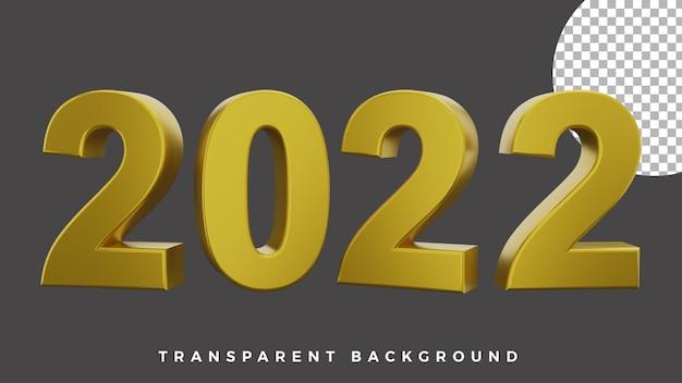 3d gelukkig nieuwjaar 2022 elegante luxe gouden frontrotatieconcept hoge kwaliteit