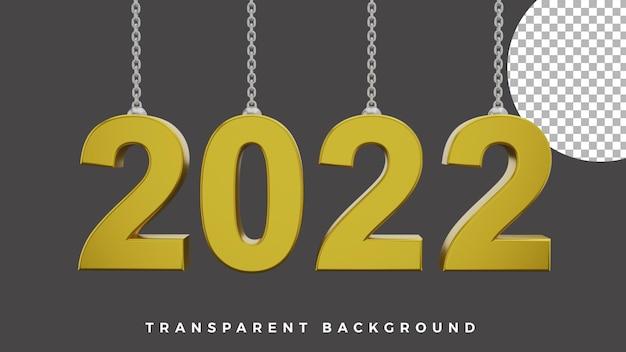3d gelukkig nieuwjaar 2022 elegante luxe gouden ketting front concept van hoge kwaliteit