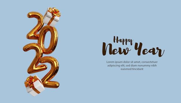 3d gelukkig nieuwjaar 2022 met 3d gouden ballonnummer en geschenkdoos