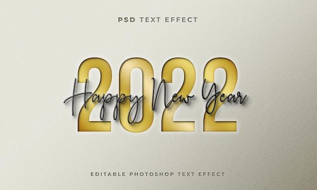 3d gelukkig nieuwjaar 2022 teksteffectsjabloon