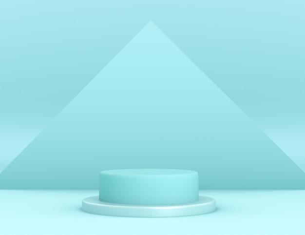 3d geometrisch cyaan podium voor productplaatsing met driehoekige achtergrond en bewerkbare kleur