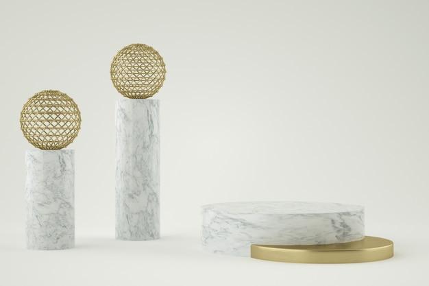 3d geometrische marmeren en gouden podium