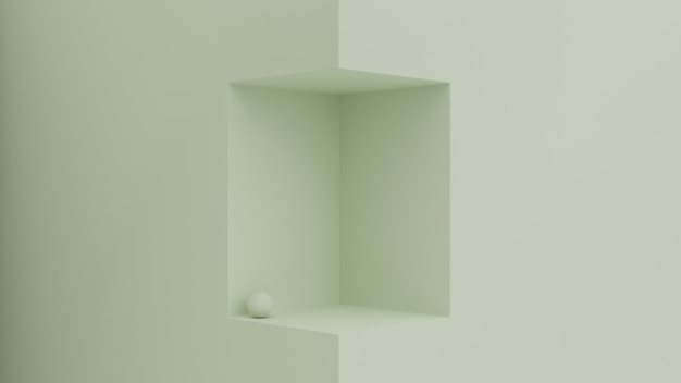 3d geometrische scène met kubusruimte voor productplaatsing