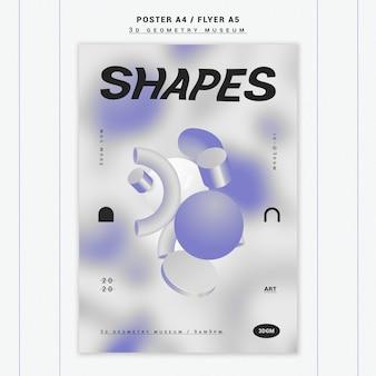 3d-geometrische vormen poster sjabloon