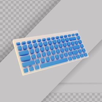 3d-gerenderd wit en blauw pc-toetsenbord
