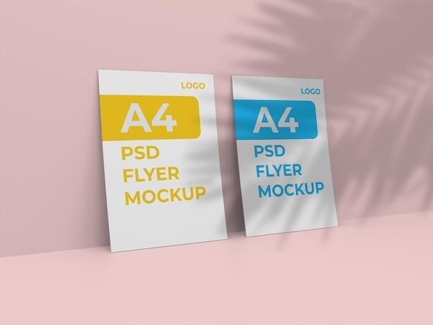 3d-gerenderde a4 papieren flyer mockup ontwerp