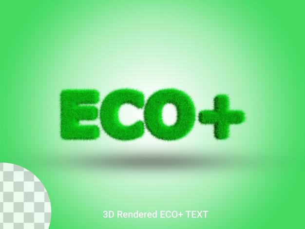 3d-gerenderde eco plus grastekst