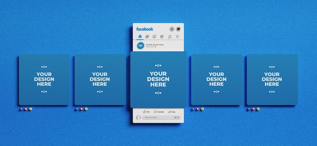 3d-gerenderde facebook-interface met emoji's voor mockup voor sociale media