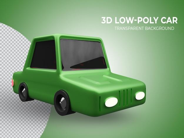 3d-gerenderde groene lowpoly-animatieauto van hoge kwaliteit