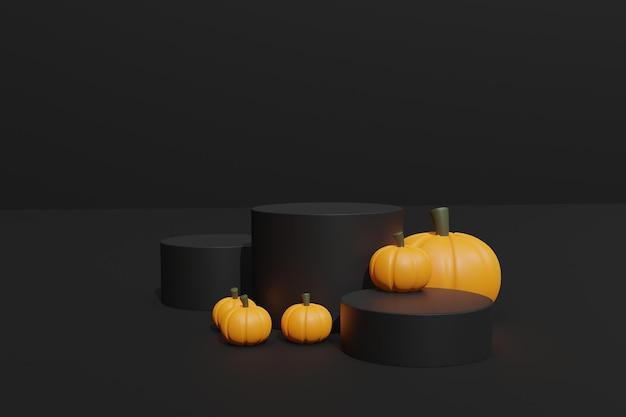 3d-gerenderde halloween-pompoenen en podium