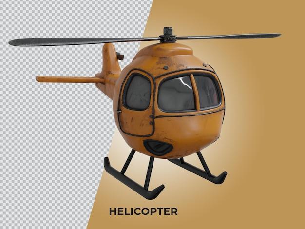 3d-gerenderde hoge kwaliteit laag poly helikopter zijaanzicht