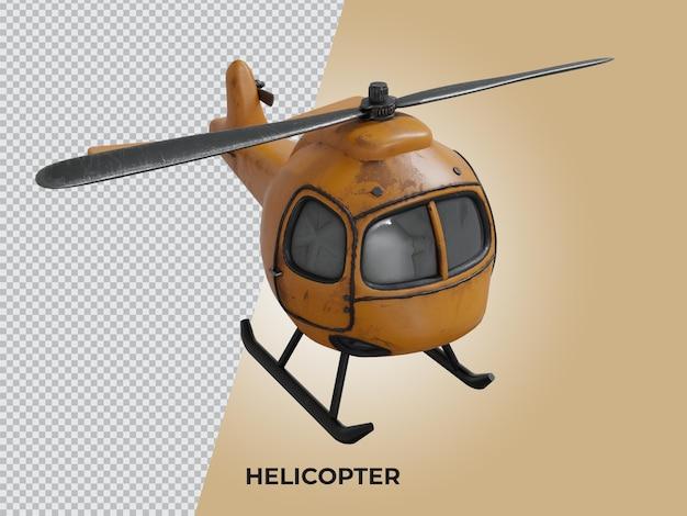 3d-gerenderde hoge kwaliteit low poly helicopter top vie