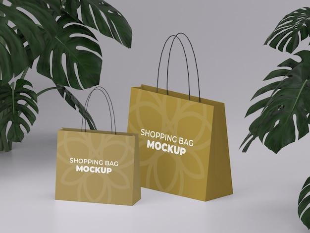 3d-gerenderde hoge kwaliteit twee aanpasbare boodschappentas mockup