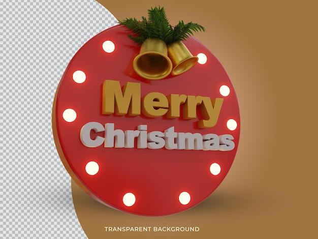 3d-gerenderde hoge kwaliteit vrolijk kerst 3d-tekstpictogram met bel