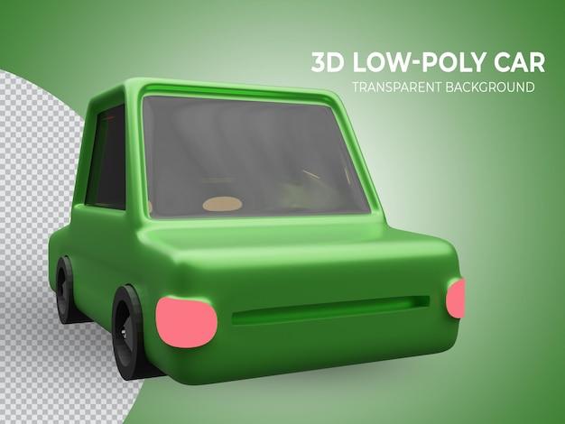 3d-gerenderde hoogwaardige groene lowpoly animatie auto achteraanzicht