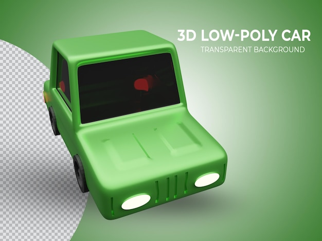3d-gerenderde hoogwaardige groene lowpoly animatie auto bovenaanzicht