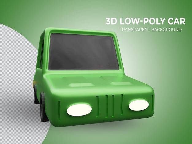 3d-gerenderde hoogwaardige groene lowpoly animatie auto vooraanzicht