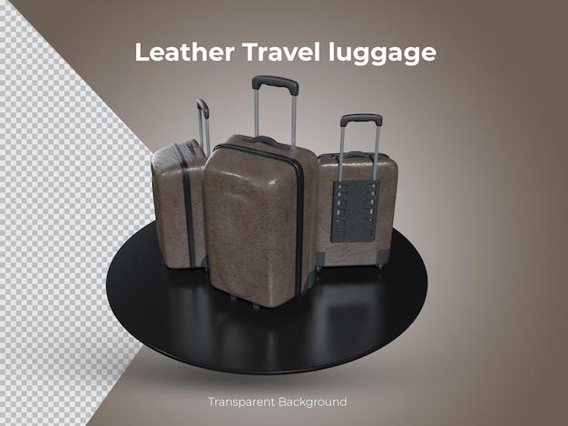 3d-gerenderde hoogwaardige lederen reisbagage set bovenaanzicht