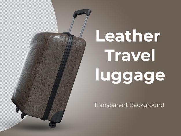 3d-gerenderde hoogwaardige lederen reisbagage zijaanzicht