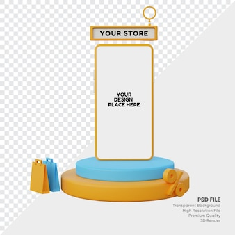 3d-gerenderde korting promo online winkel mockup