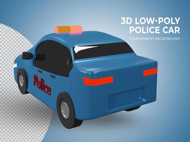 3d-gerenderde laag poly blauwe politieauto achteraanzicht
