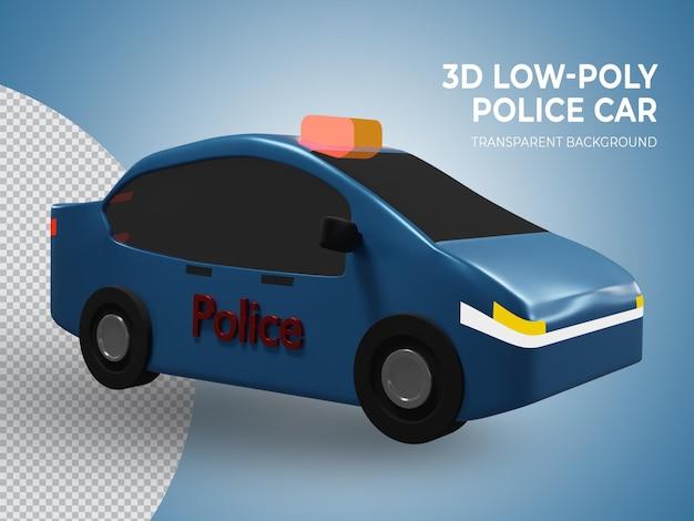 3d-gerenderde laag poly blauwe politiewagen zijaanzicht