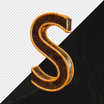 3d-gerenderde metalen letter s met houten slag