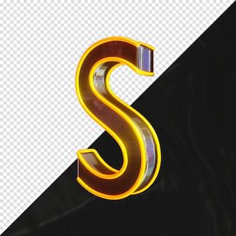3d-gerenderde metalen letter s