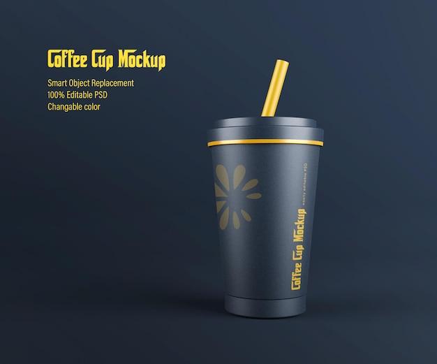 3d-gerenderde papieren koffiekopje mockup ontwerp