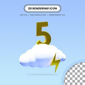 3d-gerenderde realistische wolk met donder en nummer 5 pictogramontwerp