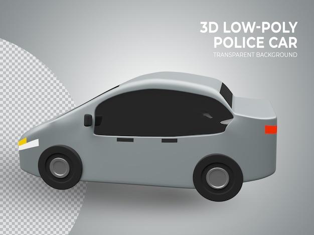 3d-gerenderde schattig laag poly speelgoedauto zijaanzicht