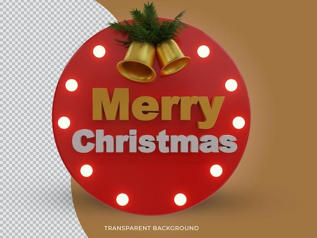 3d-gerenderde vrolijke kerst 3d-tekstpictogram met bel aan de voorkant
