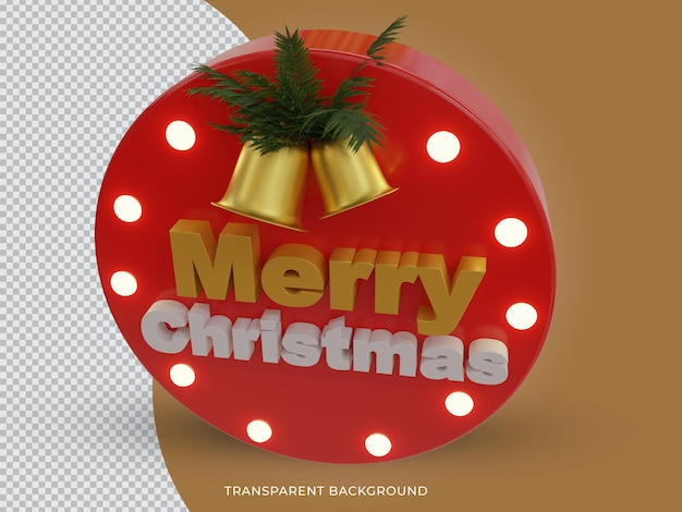 3d-gerenderde vrolijke kerst 3d-tekstpictogram met bovenaanzicht van de bel