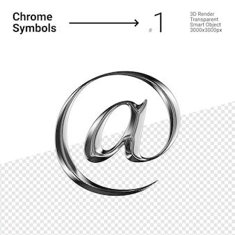 3d-gerenderde zilveren chromen symbool ampersat