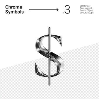3d-gerenderde zilveren chromen symbool dollar