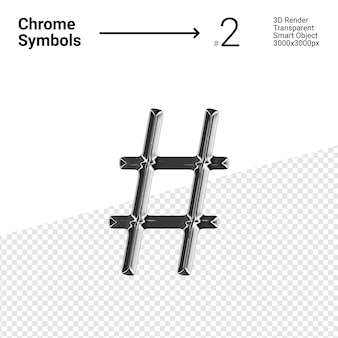 3d-gerenderde zilveren chromen symbool hash