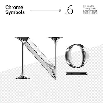 3d-gerenderde zilveren chromen symbool nummer