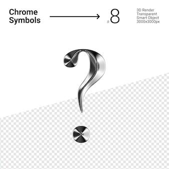 3d-gerenderde zilveren chroom symbool vraagteken