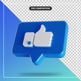 3d glanzend zoals facebook-pictogram geïsoleerd