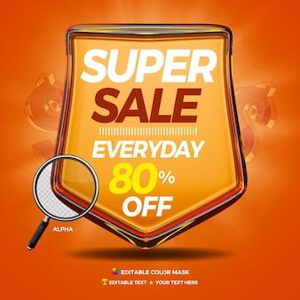3d-glanzende badge met elke dag superverkoop en 80 procent korting