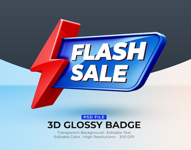 3d-glanzende glanzende badge flash-verkoop mockup
