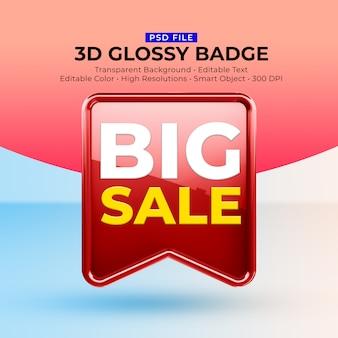 3d-glanzende glanzende badge met mockup voor grote verkoop