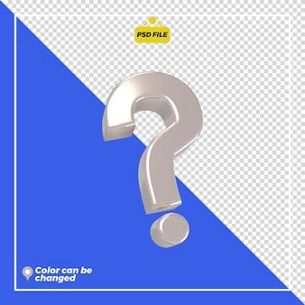 3d-glanzende questionmark-pictogramweergave geïsoleerd