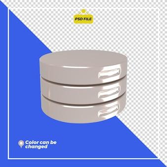 3d-glanzende server pictogram weergave geïsoleerd