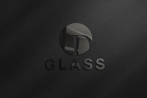 3d glazen logo mockup op muur in 3d-rendering