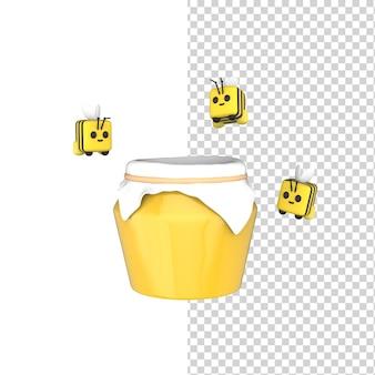 3d glazen pot vol zoete honing en schattige vrolijke bijen in de buurt